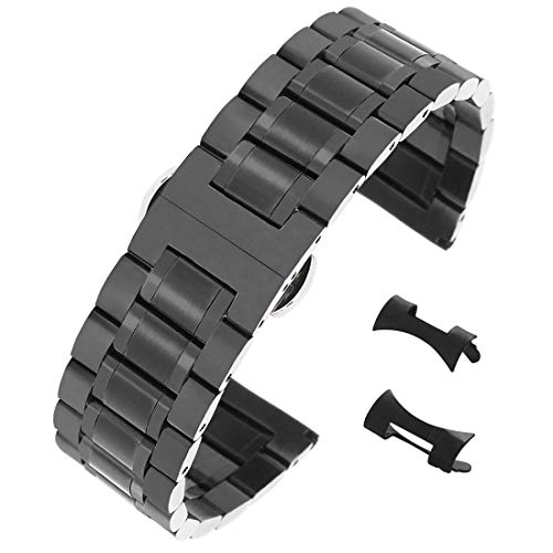 AUTULET Herren Edelstahl Uhrarmband Schwarz 20mm