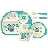 HOMEWINS Kindergeschirr Set aus Bambus 5 teilig - Teller, Schüssel, Löffel, Gabel, Tasse, BPA Frei Lernbesteck Geschirr Sets für Kinder ab 6 Monaten (Hund)