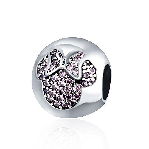Hmilydyk birthstone minnie mouse 925argento swarovski element cristallo cz per braccialetti pandora e argento, colore: rosa, cod. gupdrsvp040-b