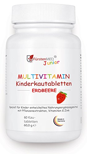 FürstenMED® Multivitamin Kautabletten Erdbeere - Kinder Vitamine - Ohne Zusatzstoffe - Natürlich - Vegan - Hergestellt In Deutschland (Tabletten Niacin-60)