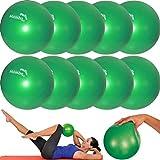Mambo Max 10 Pezzi - Mvs Palla 25-27 cm Morbida +2 Tappi+Cannuccia, Pilates Ginnastica Yoga Gym Soft Over Ball - Verde