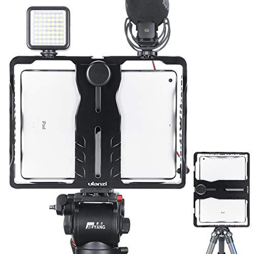 ULANZI U-Pad Metall-Videokäfig, Tablet Vlog Rig Stabilizer mit 1/4 Zoll Schraube Dreifach-Kaltschuhhalterung Kompatibel mit iPad/iPad Pro/iPad Air/iPad Mini-Tablets