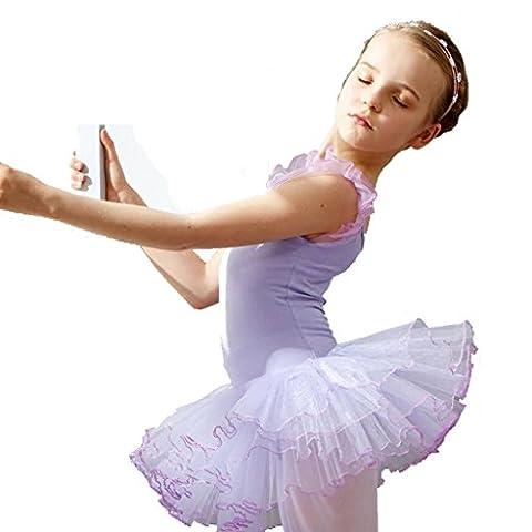 Wgwioo mädchen ballett tanz kleid kinder bühnen studenten gruppe team gymnastik praxis match kleidung kindergarten kinder prinzessin tulle party coverall leistung kostüme , purple , 100cm