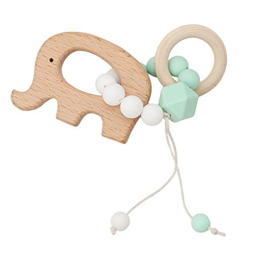 Lalang Baby Holz Rasseln Spielzeug, Baby Besänftige Spielzeug,Sensory Puzzle Beißring Aktivitätsspielzeug (Elefant)
