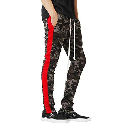 Männer Camouflage Classic Camo Joggers Pants Tracksuit Hohe Taille Slim Fit Lässig Reißverschluss Jogging Bottom HoseRot M