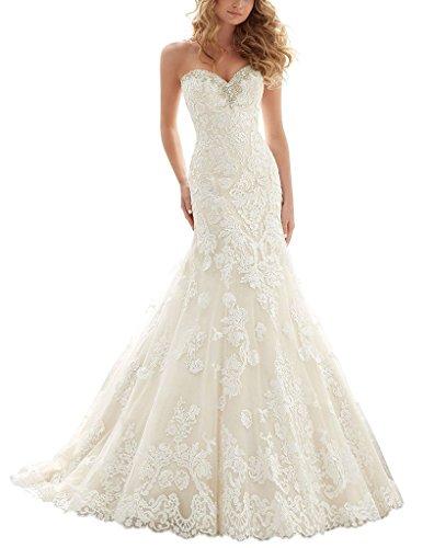 AZNA Damen Schatzhals Nixe Spitze HochzeitsKleid Brautkleid Weiß 42
