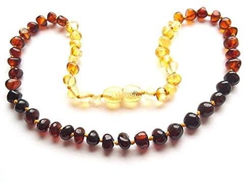 Collier Ambre 32cm. - 100% Plus Haute Qualite Certifie l'Ambre la Baltique Authentique Collier Perles. Amberta®