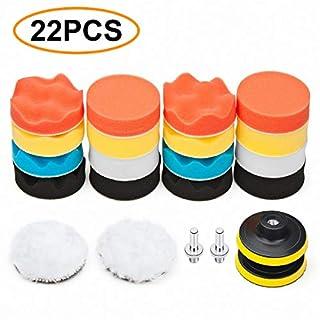 TDW Polierschwamm Auto, 22pcs Polierschwamm Set für Polierauflage Bohrmaschine, 76,2mm (3 Inch) Polierpad Set und Wolle Polierteller für Poliermaschine M10 Bohrer Adapter