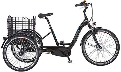 Prophete Unisex- Erwachsene Cargo E-Bike 3R Elektrofahrrad, schwarz Glanz, RH 46 cm