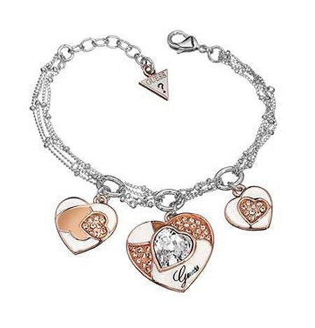 Guess ubb41107-bracciale da donna in metallo argentato, con 3 ciondoli a forma di cuore, 18 cm, colore: rosa