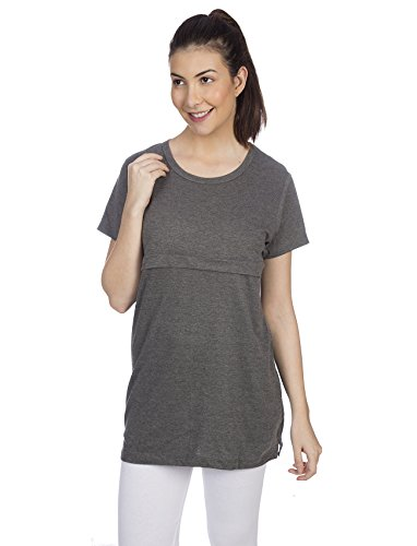 Goldstroms Women's Long Nursing/Feeding/Maternity top (Charcoal Grey, 2XL)