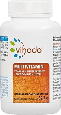 Vihado Multivitamin Tabletten hochdosiert 26Vitamine + Mineralstoffe + Coenzym Q10 + Lutein Tagetes Erecta, Nahrungsergaenzungsmittel 60 Kapseln, 1er Pack (1 x 52,7 g.)