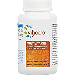 Vihado Multivitamin Tabletten hochdosiert - 26 Vitamine + Mineralstoffe + Q10 + Tagetes Erecta, 60 Kapseln, 1er Pack (1 x 52,7 g)
