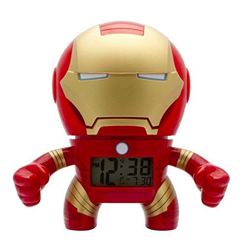 BulbBotz Reloj despertador infantil con luz, diseño de Iron Man de Marvel, color rojo y dorado, plástico, 19 cm de alto, pantalla LCD, producto oficial