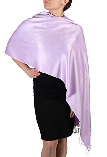 Pashmina bufanda femenina- Acabado de borlas - Percha gratuita – Más de 20 colores - Hecho de mano (Lila)