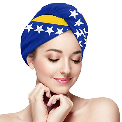 Bosnien und Herzegowina Flag Hair Towels Wrap schnell trocknend Mikrofaser trockenes Haar Hut gewickelt Badekappe Saugfähige Kappe passt den meisten Haaren