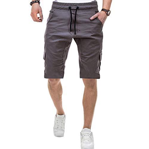 Pantaloncini Uomo Palestra, feiXIANG Pantaloncini Uomo Pantaloni Corti Slim Fit con Tasca Slip e Parigamba, Pantaloncini Uomo Lavoro Arancioni da Allenamento