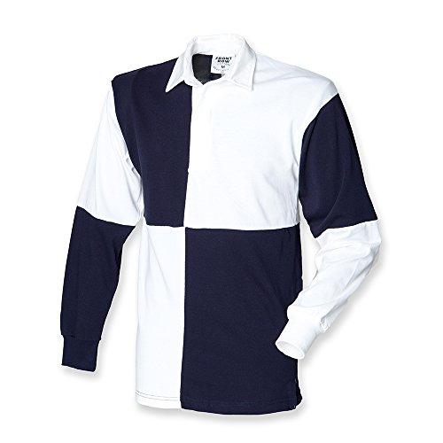 Traditionelle Rugby-shirts (Front Row Langarm Rugby Shirt geviertelt, Weiß/Navy, Gr.XXL)