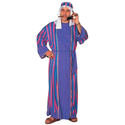 Scheich Kostüm Araber Scheichkostüm blau Orient Araberkostüm Herren Orientkostüm Sultan Faschingskostüm Kalif Ölscheich Tuareg Beduine Selim Arabisches Karnevalskostüm 1001 Nacht Mottoparty Verkleidung Karneval Kostüme Männer (Beduinen Kostüm)