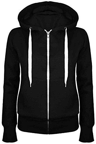 Oops Outlet Damenjacke mit Reißverschluss, einfarbig, Kapuzenpullover für Damen, Sweatshirt-Jacke, Größe 34 bis 52 Gr. XXL (42 ), Schwarz