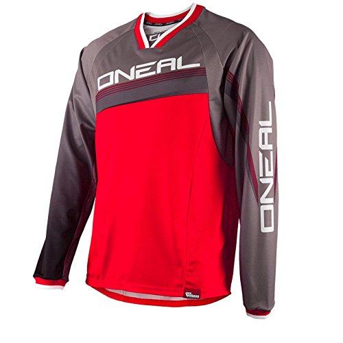 O'Neal Element FR langarm Jersey MTB DH Rot Grau Mountain Bike Moto Cross Downhill Shirt, 0075S-6, Größe Large