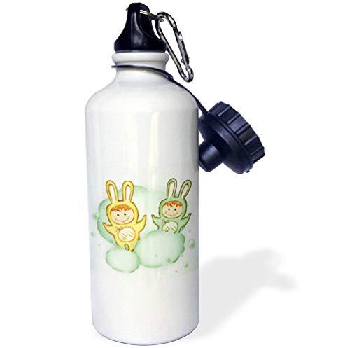 qidushop Trinkflasche mit süßem Osterhasen-Motiv, für Kinder, in Wolken, Vektor-Karomuster, Edelstahl, isolierend, für Radfahren, Camping, 535 ml