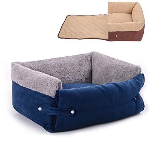 Pet Nest Komfortable Weiche Abnehmbare Flip-Flops Multifunktionale Hundehütte Für Hunde Und Katzen Mit Langem Plüsch Sofa,Blue,L