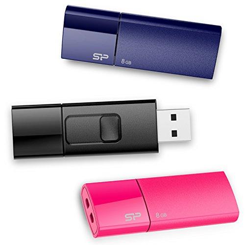 Preisvergleich Produktbild SP / Silicon Power 8GBx 3 (3 Stück) Ultima U05 Cap-less USB-Stick / Flash Laufwerk 2.0 für Windows / Mac -Blau / Pink / Schwarz