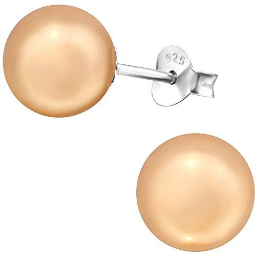 EYS JEWELRY Damen Ohrstecker 925 Sterling Silber synthetische Perlen 8 mm pfirsich Kugel Ohrringe im Geschenketui -