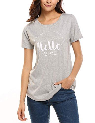 Zeagoo Damen Sommer Printshirt Rundhals mit Letter Buchstaben Druck Kurzarm Shirt Blusen Tops Grau