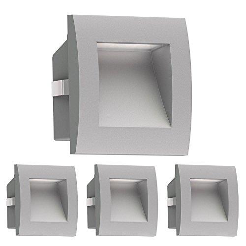 ledscom.de LED Wandleuchte Zibal, Outdoor, Grau, Kalt-Weiß, 90x90mm, 4 Stk. (Outdoor-wand Beleuchtung, Beleuchtung)