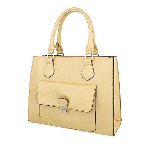 iTal-dEsiGn Damentasche Mittelgroße Schultertasche Handtasche Kunstleder TA-A173 Gold