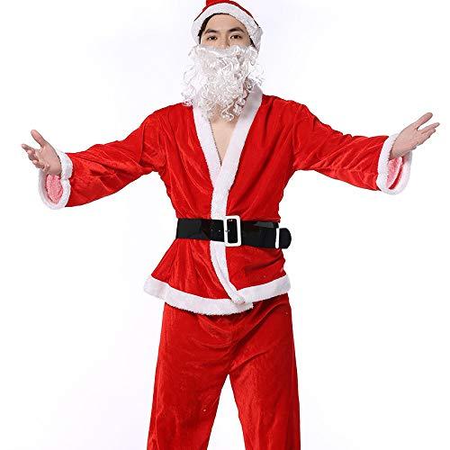 FAFY Weihnachten Erwachsene Weihnachtsmann Kostüm Anzug Plüsch Vater Phantasie Kleidung Weihnachten Cosplay Requisiten Männer Mantel Hosen Bart Gürtel Hut Weihnachten Set