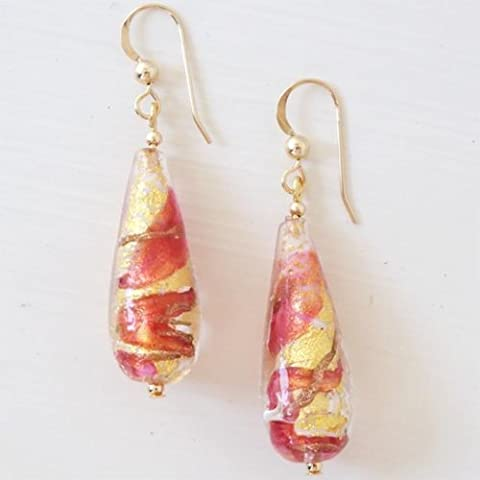 Diana Ingram pink and gold foil Murano glass long pear (30x11mm) drop earrings on silver or gold.