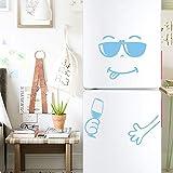 Gaddrt kühlschrankaufkleber Wandaufkleber Niedlicher Aufkleber Kühlschrank Happy Delicious Face Kitchen Kühlschrank Wandaufkleber Kunst 50cm x 72cm (hellblau)