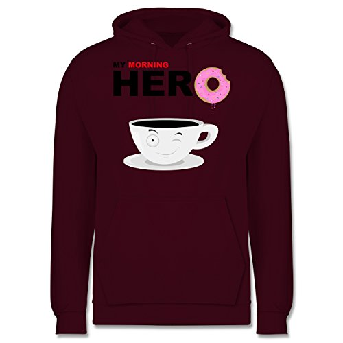 Küche - My morning hero - Coffee - Männer Premium Kapuzenpullover / Hoodie Burgundrot