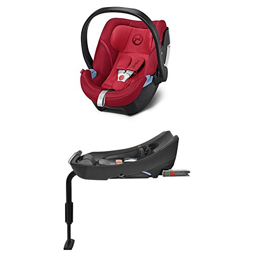 Cybex Gold Aton 5, Autositz Gruppe 0+ (0-13 kg), Kollektion 2018, rebel red + Basisstation Aton Base 2-fix, Gruppe 0+ (0-13 kg), black