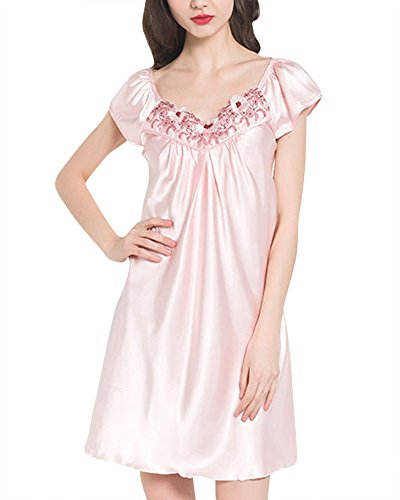 Damen Pyjamas Sommer Nachthemd Kurzarm Große Größe Spitze Glattes Pink M