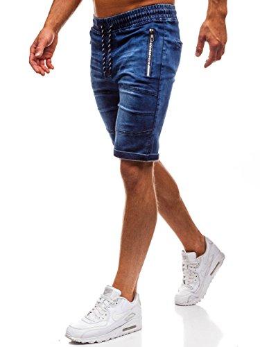 Bolf pantaloncini di jeans – con coulisse – con stemma – con sovraimpunture – con ombreggiature – da uomo red fireball hy188 blu xxl [7g7]