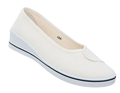 Damen Schuhe Ballerinas Keilabsatz Wedges Slipper Flats Halbschuhe Weiß 37