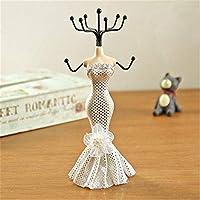 fggfgjg Iron Mannequin Princess Dress Jewelry Display Shelf Earrings Necklace Rack white