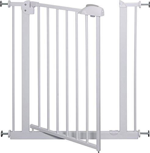 IB-Style – Treppengitter / Türgitter MIKA | Erweiterbar durch Verlängerungen | 75 – 175 cm | Auto-Close – automatisches Schließen | 90° Fixierung | Metall Weiß| Spannbreite 75 – 85 cm - 4