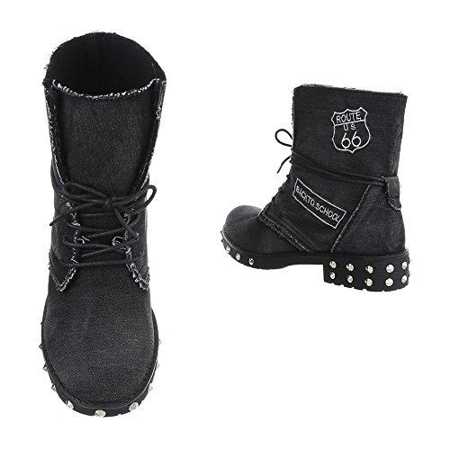 Ital-Design Chaussures Femme Bottes et Bottines Bloc Bottines a Lacet noir 17007-13