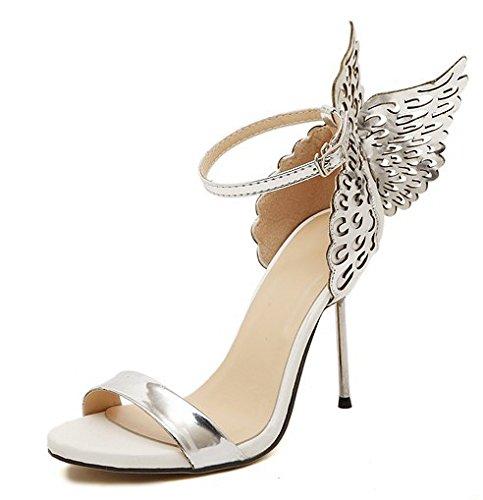 WZG Offene Schuhe Engelsflügel Schmetterling dreidimensionale Stahl Wort feinen Schnalle mit hohen Absätzen neue Sandalen Schuhe , silver , (Engelsflügel Schmetterling)