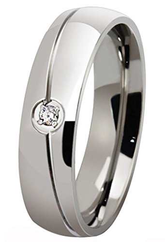 SaySure - Black Silver Color Titanium Steel Solid Ring (SIZE : 7)