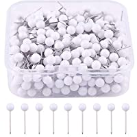 MIAHART 400 Pcs Map Push Pins 1/8 inch Map Tacks Push Pins Small Size White Map Pins with Plastic Round Heads and Steel Needle Points (White)