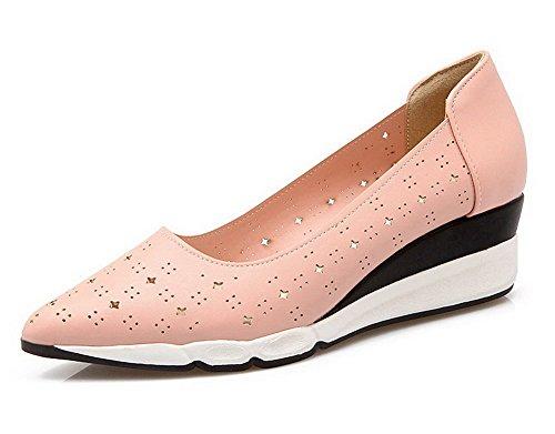 Senhoras Agoolar Mover Para Dedo Apontado Meados Calcanhar De Couro Pu Bombas Sapatos Rosa Pura