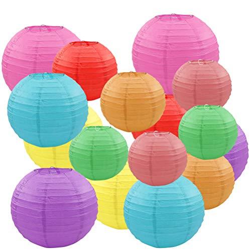 OFNMY 16pcs Lámpara de Papel Decorativas Reutilizable 4/6/8/10 inch Ideal para Decorar Jardín,Árbol de Navidad Fiesta,etc (Multicolor)