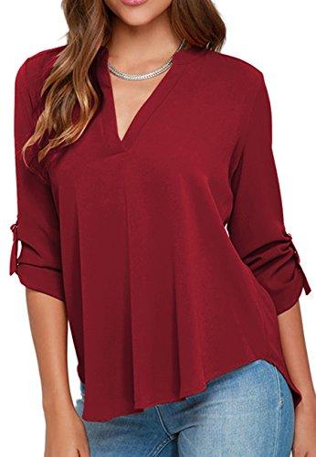 OMZIN Damen Lady Office Halbarm V-Ausschnitt Shirt Chiffon Blousess Weinrot M
