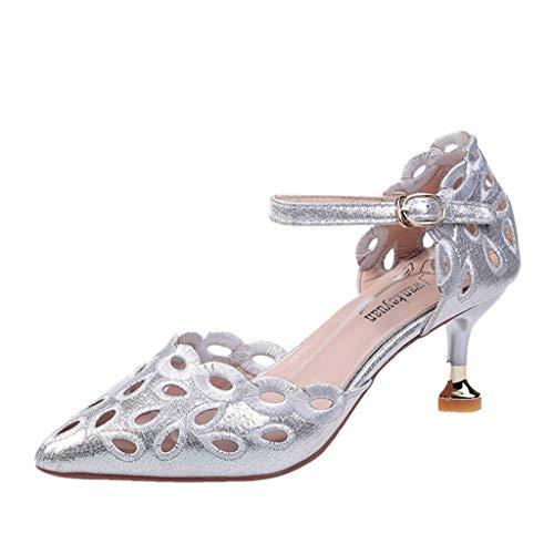 Deloito Frauen Mode Freizeit Spitze Dünne High Heels Sandalen Damen Hochzeit Party Schnallenriemen Stilett Schuhe Atmungsaktiv Strand Schuhe (Grau,37 EU)